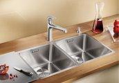 Кухонная мойка без крыла, с клапаном-автоматом, нержавеющая сталь зеркальной полировки Blanco Andano 340/340-IF 520831