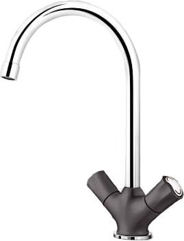 Классический кухонный вентильный смеситель с высоким изливом, хром / тёмная скала Blanco AMONA 520777