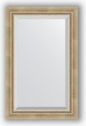 Зеркало 53x83см с фацетом 30мм в багетной раме старое серебро с плетением Evoform BY 1132