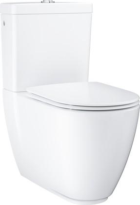 Унитаз напольный Grohe Essence Ceramic, безободковый, подвод воды снизу, комплект (чаша, бачок, сиденье) 3957200H/39579000