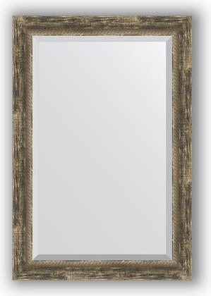 Зеркало с фацетом в багетной раме 63x93см старое дерево с плетением 70мм Evoform BY 3434