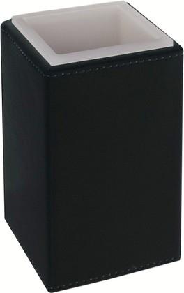 Стакан настольный квадратный, матовое акриловое стекло / чёрная экокожа Colombo Black&White B9221.EPN