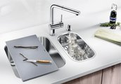 Кухонная мойка без крыла с коландером, нержавеющая сталь полированная Blanco SUPRA 180-U 518198