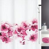 Штора для ванны 180x200см текстильная розовая Spirella AMANDA 1015174