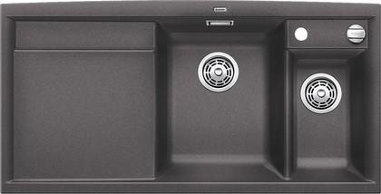 Кухонная мойка чаши справа, крыло слева, с клапаном-автоматом, с коландером, гранит, тёмная скала Blanco Axia II 6 S 518828