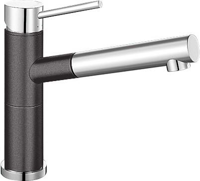 Небольшой кухонный однорычажный смеситель с выдвижным изливом, хром / тёмная скала Blanco ALTA-S Compact 518809