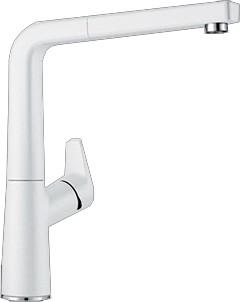 Смеситель кухонный однорычажный с высоким, выдвижным изливом, SILGRANIT белый Blanco AVONA-S 521280
