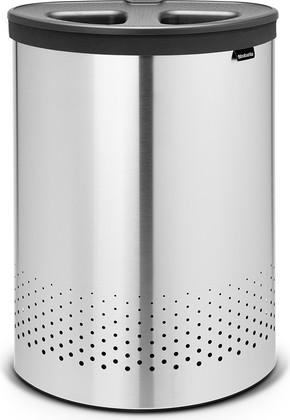 Бак для белья двойной 55л стальной матовый с тёмно-серой пластиковой крышкой Brabantia 105029