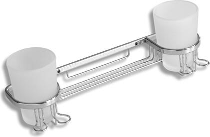 Полка для ванной с двумя стеклянными стаканами 35х10х12см Novaservis 6057.0