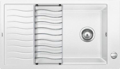 Кухонная мойка оборачиваемая с крылом и решеткой, гранит белый Blanco Elon XL 8 S 520488