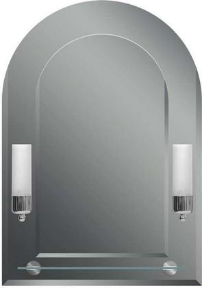 Зеркало 50x70см с фацетом, со светильниками-бра и вмонтированной стеклянной полкой Dubiel Vitrum TULIPAN VI 5905241001128