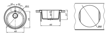 Кухонная мойка Florentina Лотос, d510мм, антрацит 20.290.B0510.302