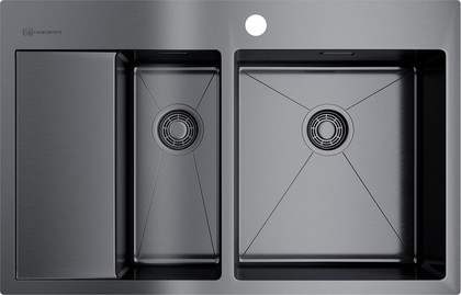 Кухонная мойка Omoikiri Akisame 78-2-GM-R, с крылом, чаша справа, воронёная сталь 4973102