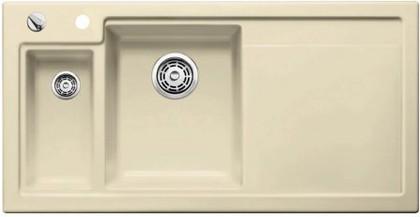 Кухонная мойка чаши слева, крыло справа, с клапаном-автоматом, с коландером, керамика, жасмин Blanco Axon II 6 S PuraPlus 516547