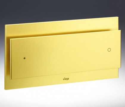 Кнопка смыва для инсталляции для унитаза металлическая под золото Viega Visign for More 102 597542