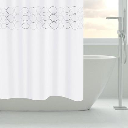 Штора для ванной Grund Paillette, 180x200см, текстиль, белый 1003.98.409