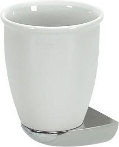 Стакан фарфоровый белый с хромированным настенным держателем Spirella Darwin 1004709