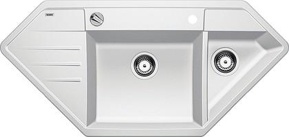 Кухонная мойка крыло слева, с клапаном-автоматом, гранит, белый Blanco Lexa 9 E 515098