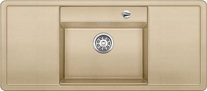 Кухонная мойка с крылом, чаша в центре, с клапаном-автоматом, белые аксессуары, гранит, шампань Blanco ALAROS 6 S 516725