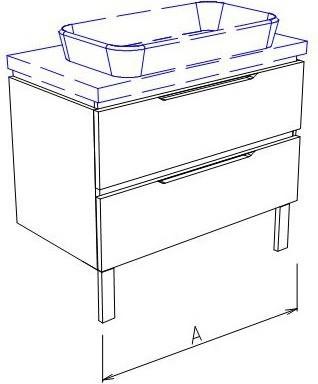 Тумба напольная с раковиной, 2 ящика 100x50x76см Verona Ampio AM202.A100.B000.C000