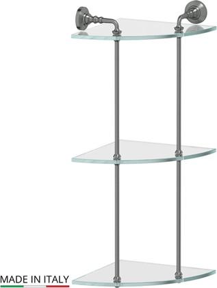 Полка для ванной стеклянная тройная угловая, античное серебро 3SC STI 419