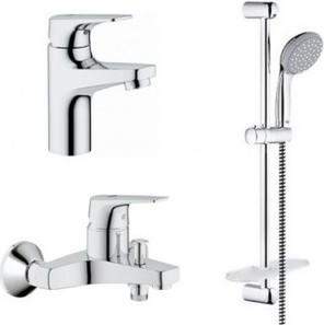 Комплект из душевого гарнитура и смесителей для ванны и раковины Grohe BauFlow 121624