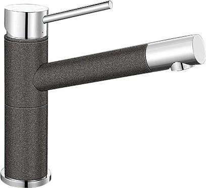 Небольшой кухонный однорычажный смеситель, хром / антрацит Blanco ALTA Compact 515323