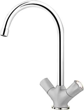 Классический кухонный вентильный смеситель с высоким изливом, хром / жемчужный Blanco AMONA 520778