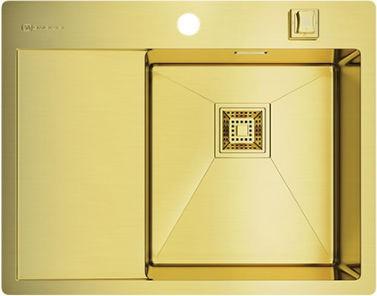 Кухонная мойка с левым крылом, нержавеющая сталь, золото Omoikiri Akisame 65-LG-R 4993084