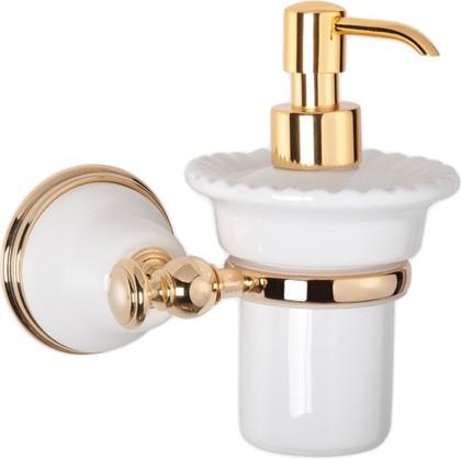 Дозатор для жидкого мыла керамический, белый/золото TW Harmony TWHA108bi/oro