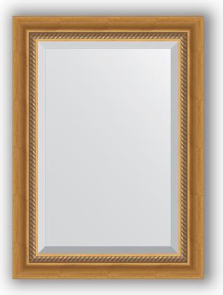 Зеркало с фацетом в багетной раме 53x73см состаренное золото с плетением 70мм Evoform BY 3379