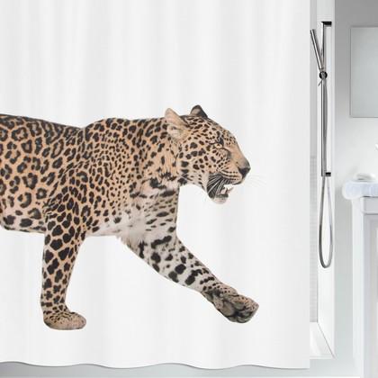 Штора для ванны 180x200см текстильная бежево-чёрная Spirella LEOPARD 1016405