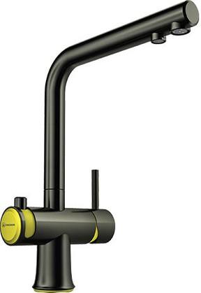 Смеситель для кухонной мойки однорычажный с подключение фильтра для очистки воды, воронёная сталь с жёлтыми вставками Omoikiri Hotaru-Y 4994027