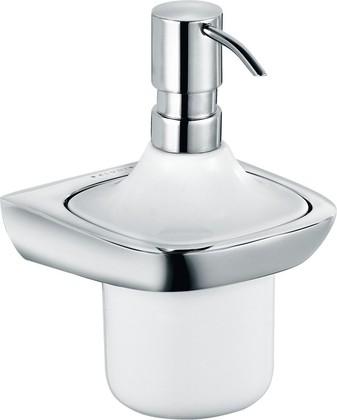 Дозатор для жидкого мыла с керамической колбой и настенным хромированным держателем Kludi AMBIENTA 5397605