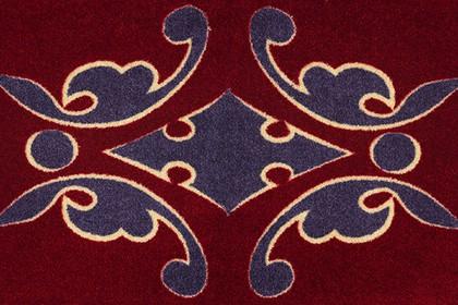 Коврик придверный Golze Lifestyle 50x78см, бордо с синим узором 1671-40-03