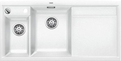 Кухонная мойка чаши слева, крыло справа, с клапаном-автоматом, с коландером, гранит, белый Blanco Axia II 6 S 516832