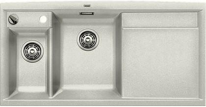 Кухонная мойка чаши слева, крыло справа, с клапаном-автоматом, с коландером, гранит, жемчужный Blanco Axia II 6 S 520530