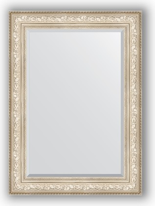 Зеркало с фацетом в багетной раме 80x110см виньетка серебро 109мм Evoform BY 3478
