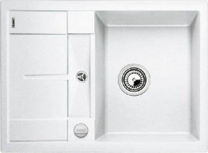 Кухонная мойка оборачиваемая с крылом, с клапаном-автоматом, гранит, белый Blanco Metra 45 S Compact 519576