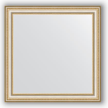 Зеркало 65x65см в багетной раме бусы платиновые Evoform BY 0782