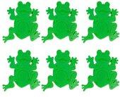 Напольный противоскользящий декор в ванну и душевую кабину 13х13см зелёный, 6шт. Spirella JEUNESSE Frogtime 1009695