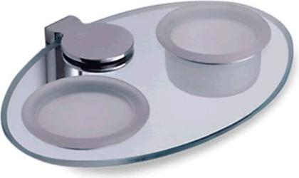 Полка стеклянная со стаканом, мыльницей и держателем, хром Colombo LUNA B0114