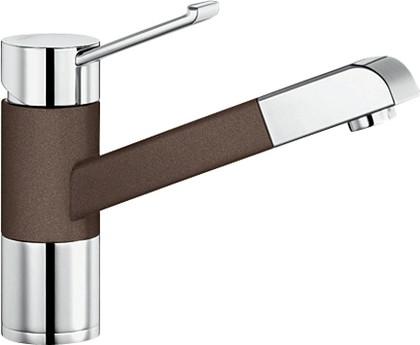 Смеситель кухонный однорычажный с выдвижным изливом, хром / кофе Blanco ZENOS-S 517827