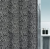 Штора для ванной 180x200см текстильная чёрная Spirella CREAMY 1016275