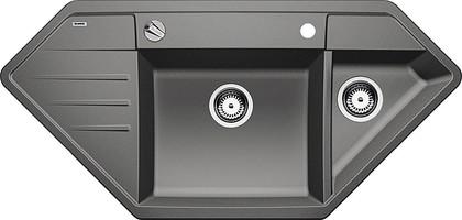 Кухонная мойка крыло слева, с клапаном-автоматом, гранит, алюметаллик Blanco Lexa 9 E 515097