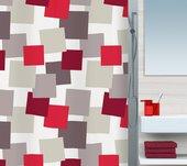 Штора для ванны 180x200см текстильная серо-красная Spirella PATCH 1015183
