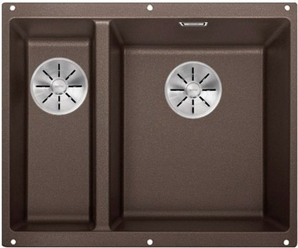 Кухонная мойка Blanco Subline 340/160-U, без крыла, основная чаша справа, отводная арматура, гранит, кофе 523567