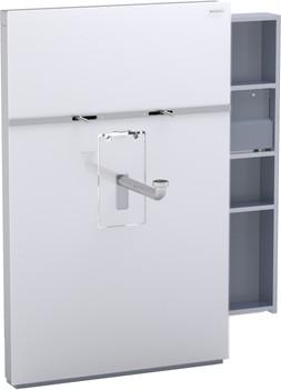 Инсталляция для подвесного умывальника и смесителя, выдвижной ящик справа 10 см, белое стекло Geberit MONOLITH 131.049.SI.1