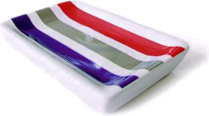 Мыльница керамическая белая в красную полоску Spirella Rayures 4007039