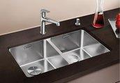 Кухонная мойка без крыла, с клапаном-автоматом, нержавеющая сталь зеркальной полировки Blanco Andano 340/340-U 520825
